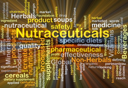 margin of safety: Background concept wordcloud illustration of nutraceuticals glowing light
