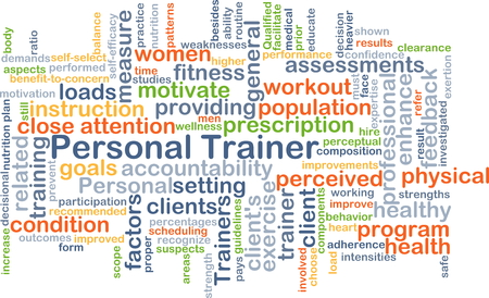 Background concept wordcloud illustration of personal trainer