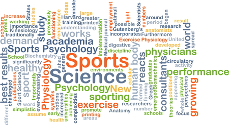 academia: Background concept wordcloud illustration of sports science Stock Photo