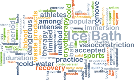 immersion: Background concept wordcloud illustration of ice bath Stock Photo
