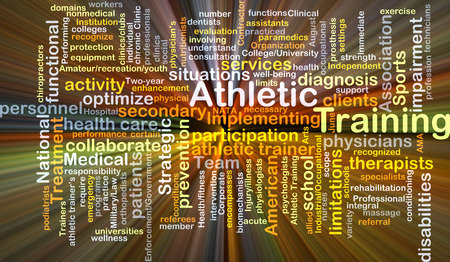 limitations: Background concept wordcloud illustration of athletic training glowing light Stock Photo