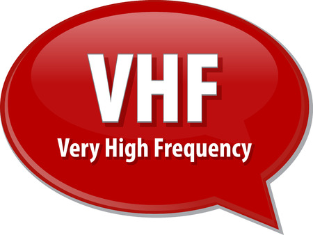 term: Speech bubble illustration of information technology acronym abbreviation term definition VHF Very High Frequency