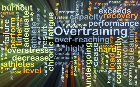 overstress: Background concept wordcloud illustration of overtraining glowing light