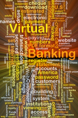 financial institutions: Background concept wordcloud illustration of virtual banking glowing light