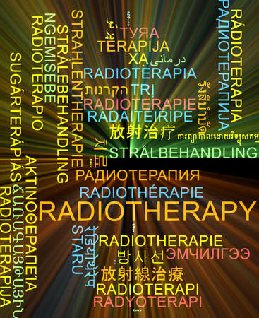 radiotherapy: Background concept wordcloud multilanguage international many language illustration of radiotherapy glowing light