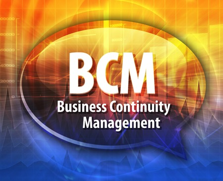 business continuity: word speech bubble illustration of business acronym term BCM Business Continuity Management Stock Photo