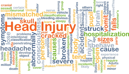 hospitalization: Background concept wordcloud illustration of head injury