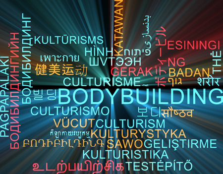 foreign bodies: Background concept wordcloud multilanguage international many language illustration of bodybuilding glowing light