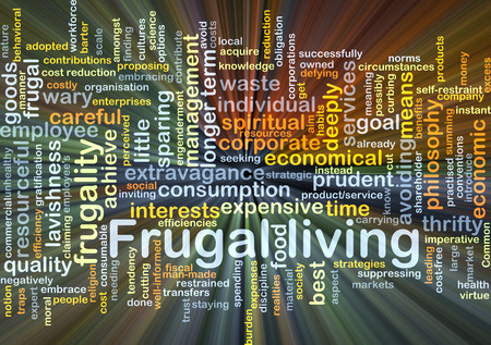 avoiding: Background concept wordcloud illustration of frugal living glowing light