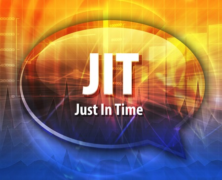 term: word speech bubble illustration of business acronym term JIT Just In Time