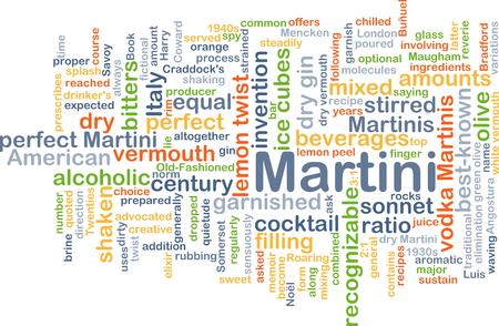 garnished: Background concept wordcloud illustration of martini Stock Photo