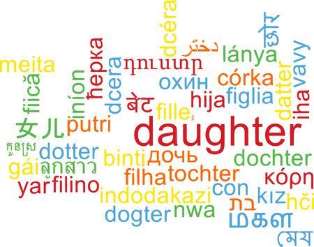 multilanguage: Background concept wordcloud multilanguage international many language illustration of daughter Stock Photo