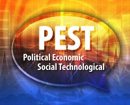 word speech bubble illustration of business acronym term PEST Political Economic Social Technological Stock Photo