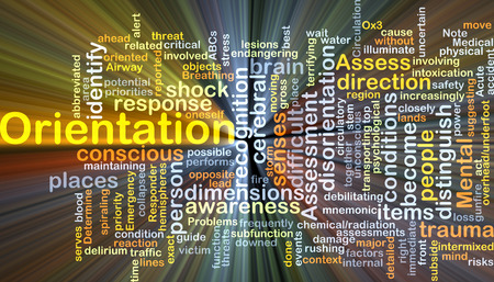 disorientation: Background concept wordcloud illustration of orientation glowing light Stock Photo