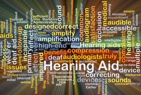 audible: Background concept wordcloud illustration of hearing aid glowing light Stock Photo