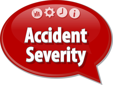 severity: Speech bubble dialog illustration of business term saying accident severity