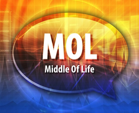 mol: word speech bubble illustration of business acronym term MOL Middle of Life