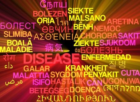 disposition: Background concept wordcloud multilanguage international many language illustration of disease glowing light