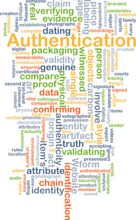 origin: Background concept wordcloud illustration of authentication Stock Photo