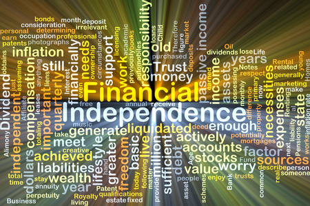 financial year: Background concept wordcloud illustration of financial independence glowing light Stock Photo