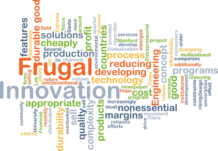 reducing: Background concept wordcloud illustration of frugal innovation