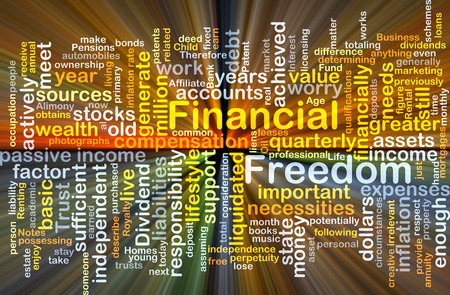 Background concept wordcloud illustration of financial freedom glowing light Banco de Imagens