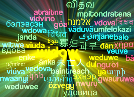widow: Background concept wordcloud multilanguage international many language illustration of widow glowing light