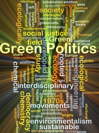 interdisciplinary: Background concept wordcloud illustration of green politics glowing light