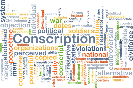 conscription: Background concept wordcloud illustration of conscription