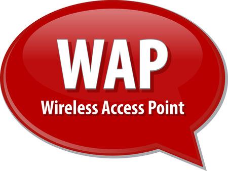 access point: Speech bubble illustration of information technology acronym abbreviation term definition WAP Wireless Access Point