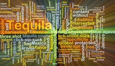 specificity: Background concept wordcloud illustration of tequila glowing light