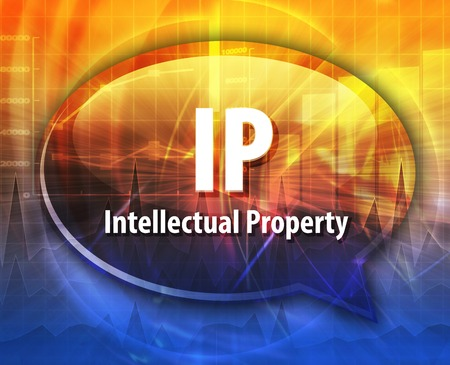 intellectual: word speech bubble illustration of business acronym term IP Intellectual Property