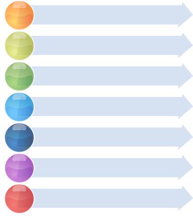 concept de stratégie de visite vierge infographie liste de flèche Illustration Schéma 7 sept étapes Banque d'images