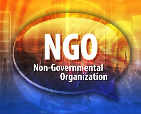 ngo: word speech bubble illustration of business acronym term NGO Non-Governmental Organization