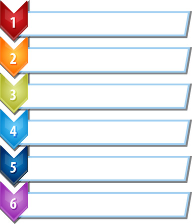 six point: blank business strategy concept infographic chevron list diagram illustration six 6 steps
