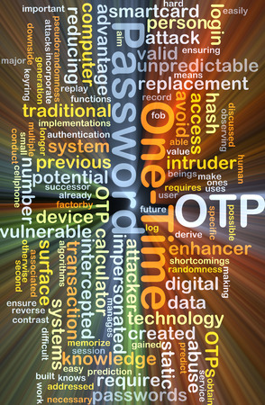 smartcard: Background concept wordcloud illustration of one-time password OTP glowing light