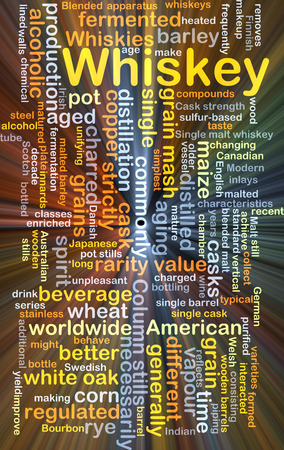 necessarily: Background concept wordcloud illustration of whiskey glowing light