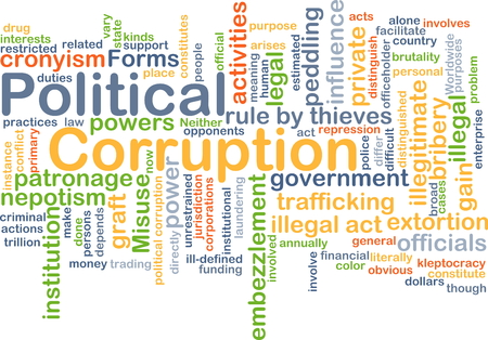 unlawful act: Background concept wordcloud illustration of political corruption Stock Photo