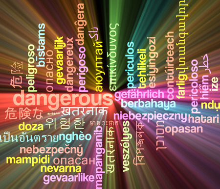harm: Background concept wordcloud multilanguage international many language illustration of dangerous glowing light
