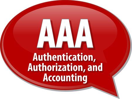contabilidad: Ilustraci�n burbuja del discurso de la tecnolog�a de informaci�n de definici�n de t�rmino abreviatura sigla AAA Autenticaci�n Autorizaci�n y Contabilidad