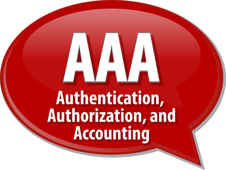 authorization: Speech bubble illustration of information technology acronym abbreviation term definition AAA Authentication Authorization and Accounting