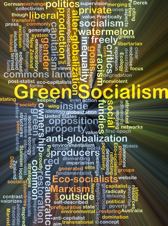 socialism: Background concept wordcloud illustration of green socialism glowing light