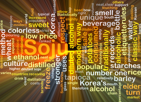 diluted: Background concept wordcloud illustration of soju glowing light Stock Photo