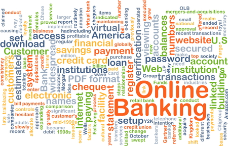 financial institutions: Background concept wordcloud illustration of online banking Stock Photo