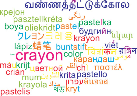 multilanguage: Background concept wordcloud multilanguage international many language illustration of crayon Stock Photo
