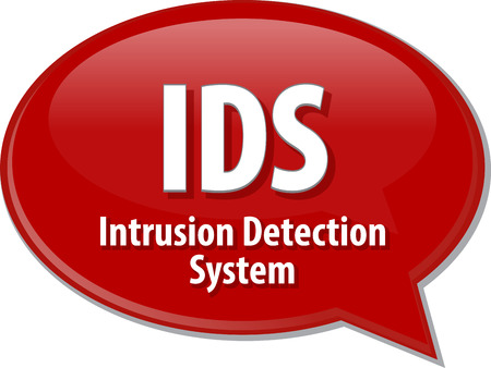 detection: Speech bubble illustration of information technology acronym abbreviation term definition IDS Intrusion Detection System