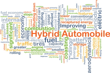 low tire: Background concept wordcloud illustration of hybrid automobile Stock Photo
