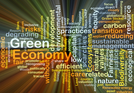 Background concept wordcloud illustration of green economy glowing light