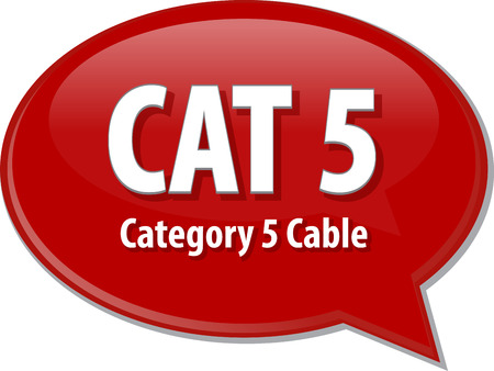 cat5: Speech bubble illustration of information technology acronym abbreviation term definition CAT 5 Category 5 cable