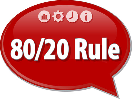 principal: Speech bubble dialog illustration of business term saying 8020 Rule efficiency principal